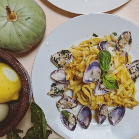 Scialatielli, vongole and pumpkin cream